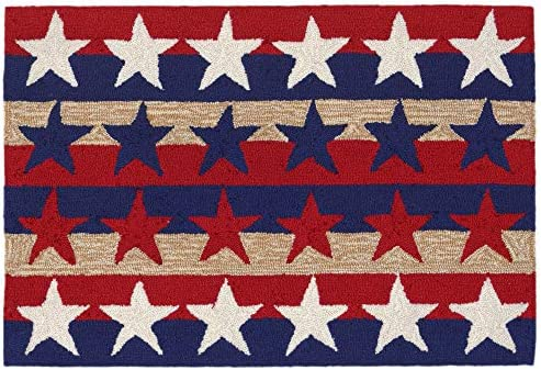 Liora Manne 1804 14 Front Porch Summer Patriotic Stars Stripes America Indoor Outdoor Rug, 2 X 3 , Red and Blue