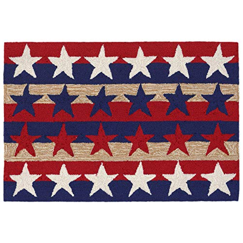 Liora Manne FT123A76114 Folly Patriot Shapes Rug, Indoor/Outdoor, Americana (Star Rug Blue)