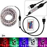 Gbell 200CM USB LED Strip Light TV Back Lamp 5050RGB Colour Changing+Remote Control for Screen TV,for Car Decoration,Home Decoration,Lighting,Signs,Advertising Signs (White)