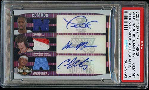 - Carmelo Anthony/Adam Morrison/Dwyane Wade 2006-07 Topps Triple Threads Relics Combos Autographs #1 PSA 10 Gem Jersey Patch Auto /36 Basketball Bobcats NBA