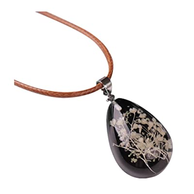 Nmch Necklace Jewelry, Women's Luminous Dried Flower Teardrop Pendant Necklace Charm Chain Jewelry Gift (Multicolor D): Clothing