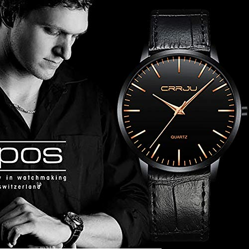 SADUORHAPPY Water-Proof Watch Ultra-Thin Men's Business Watch Black Casual Watch Folding Clasp with Safety (Dial Jewelry Clasp)