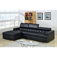 247SHOPATHOME Idf-6122-Blk-Sec Sectional-Sofas, Black
