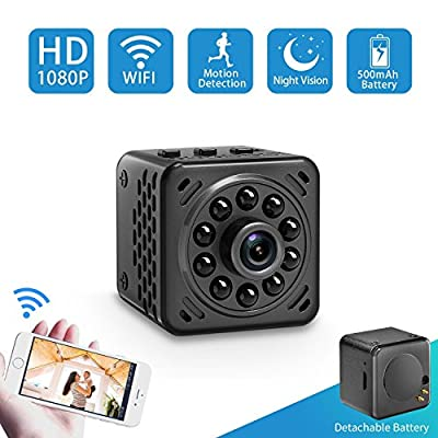 Mini Hidden Camera Nanny Cam 1080P Wireless Wifi Spy Cam with Night Vision,Motion Detection,Detachable 500mAh Battery for Indoor Outdoor Use from hongshida