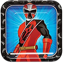 """American Greetings Power Rangers Ninja Steel 8 Count Dinner Square Plate, Black, 9"""""""