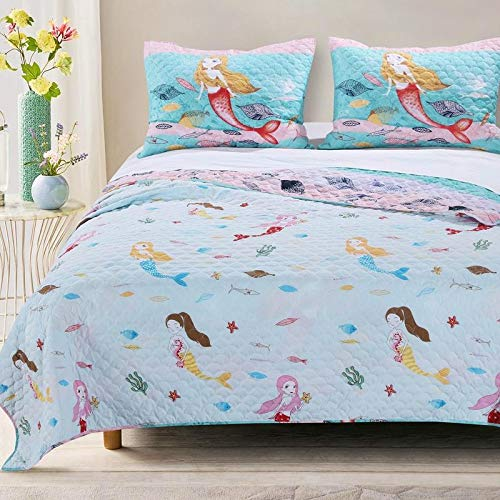Mermaid Ruffle 3pc Pink Full Queen Quilt Set,Coastal Purple Teal Quilted Bedding,Sea Life Ocean Nautical Sea Creature Beach Fish Animal Embroidery Girls Teens Cool Cute Wave Coastal Leaf Sea Shell