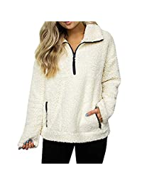 Doublelift Women's Solid Color Fleece Lapel Zipper Collar Long Sleeve Pullover Sweatshirt Top