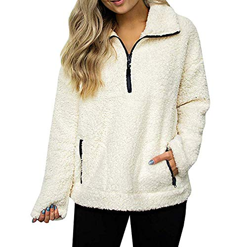Sweater for Womens, FORUU Christmas Thanksgiving Friday Monday Under 10 Women Sweatshirt Coat Winter Warm Wool Zipper Pockets Cotton Coat Outwear