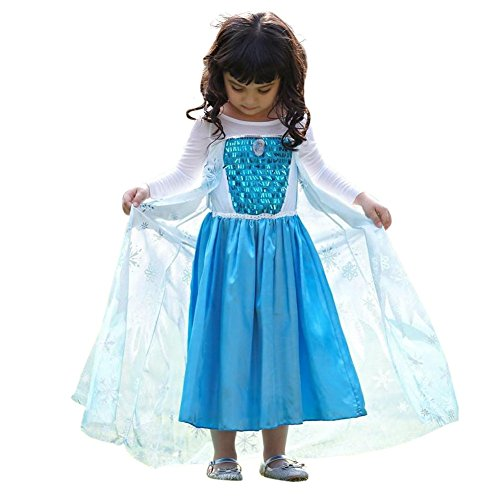 Iceman Halloween Costume (Snowflake Dress with Elsa Pin (10-11 years old, Light)