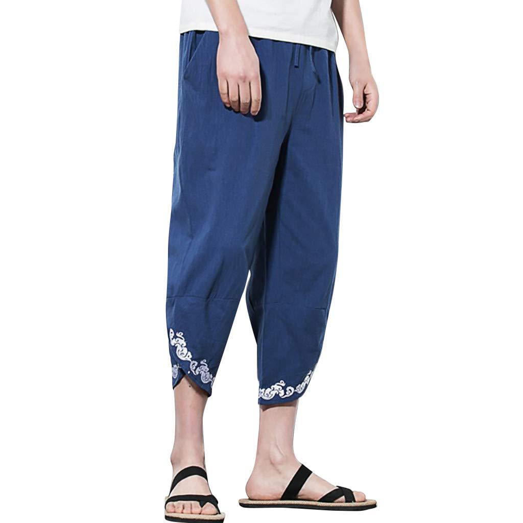 Men's Loose Pants Fashion Casual Solid Linen Plus Size Embroidery Sweatpants Trousers Harem Pant