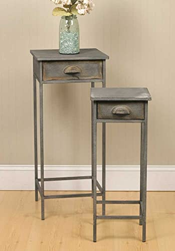 Industrial Inspired Metal Bedside Tables Set of 2
