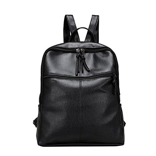JD Million shop New Women Backpack Mochila Lesuire Black Soft PU Leather Backpack School Bag for Teenage Girls Back Pack Shoulder Bag Women - Card Oakley For Gift Sale