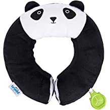 Trunki Kid's Travel Neck Pillow with Magnetic Child's Chin Support - Yondi Medium Panda (Black)