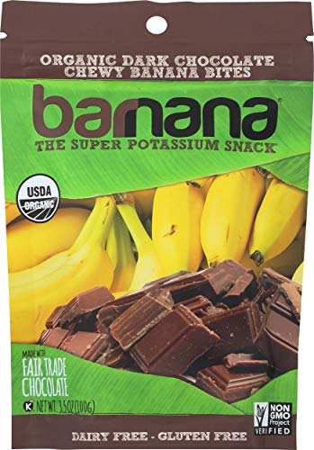 - Barnana Organic Chewy Banana Bites - Dark Chocolate - 3.5 Ounce - Delicious Barnana Coated Potassium Rich Banana Snacks - Lunch Dinner Sports Hiking Natural Snack - Whole 30, Paleo, Vegetarian