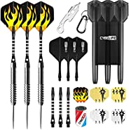 CyeeLife 21/23/26/28/30g Tungsten 90% Steel tip Darts with Carrying Case,Aluminium Shafts Installed Rubber O R