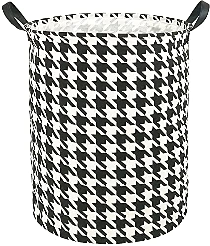 HUAYEE 19.7 Inches Large Laundry Basket Waterproof Round Cotton Linen Collapsible Storage bin with Handles for Hamper Kids Room,Toy Storage(Houndstooth)
