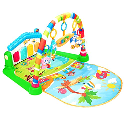 Christoy Baby Kick and Gym Play Mat Lay & Play 3 in 1 Fitness Music and Lights Fun Piano Activity Mat Infant Newborn…