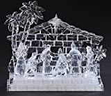 "7.75"" Icy Crystal LED Lighted Holy Family in Stable Christmas Nativity"
