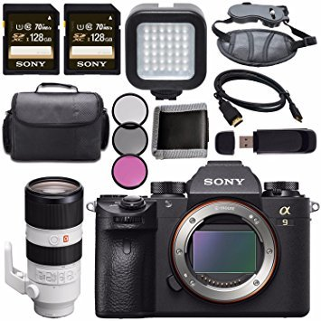 Sony ILCE9/B Alpha a9 Mirrorless Digital Camera ILCE9/B FE 70-200mm f/2.8 GM OSS Lens SEL70200GM 128GB SDXC Card + HDMI + Carrying Case + Memory Card Wallet + LED Light Bundle