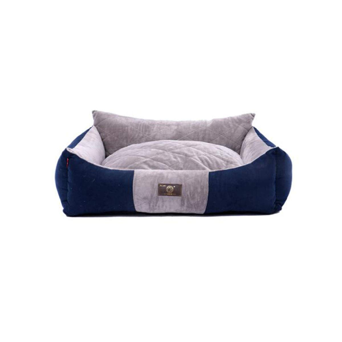 8haowenju High Backrest, Fully Removable And Washable Environmentally Friendly 3D PP Cotton, Comfortable And Soft Pet Bed, golden Wool Husky Kennel Quilted Kennel bluee XL Comfortable and comfortable