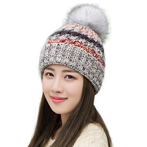 Ypser Women's Winter Slouchy Knitted Hat Cable Faux Fur Pom Beanie Hat, Grey, One Size
