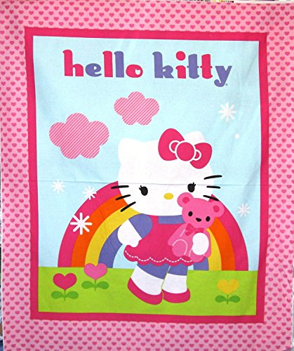 Hello Kitty & Teddy Quilt  Cotton Fabric Panel -  Licensed