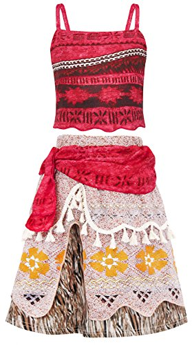 AmzBarley Moana Costume Adventure Outfit Cosplay Party Skirt Little Girls Dress up Size (Halloween Costumes For Bigger Girls)