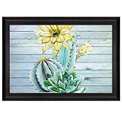 Watercolor Illustrations of Cactus and Yellow Flowers Over Wooden Panels Nature Framed Art, Premium Product, Dazzling Technique