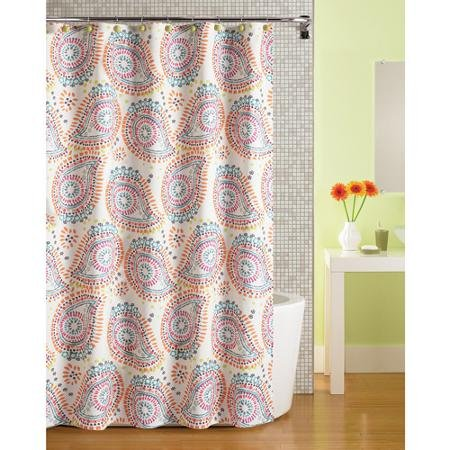 MainStays Bright Youthful Paisley Fabric Shower Curtain Outlet