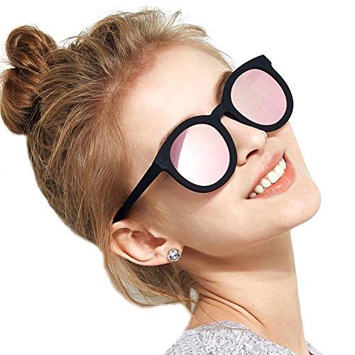 Oversized Sunglasses for Women, BLUEKIKI YEUX Vintage Women Sunglasses Polarized Round Mirror(Rose gold, 61) -