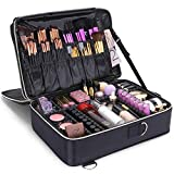 Lifewit 3-Layers Makeup Bag Train Case, Travel Cosmetic Organizer Bag with Adjustable Divider, Black