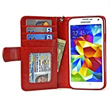 Navor Samsung Galaxy S5 / SV Book Style Folio Wallet PU Leather Case with Money Cards Pocket, Clear ID Window & Ultra Clear Screen Protector (Red)