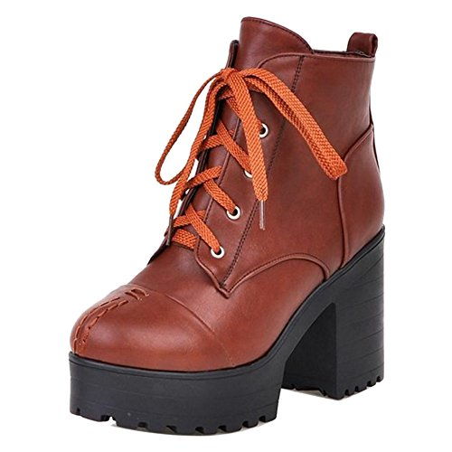 Women COOLCEPT Autumn Fashion Lace Boots Up Brown Cxqd8Sn