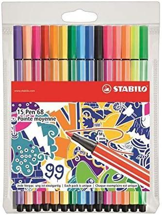Fieltro de dibujo – Stabilo Pen 68 – Estuche de 15 rotuladores ...