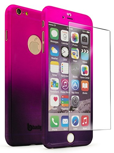 """Bastex iPhone 6 Plus / 6s Plus 5.5"""" Case with Tempered Glass Screen Protector Full Body Slim Fit Fade Pink to Purple Ultra Thin Light Weight Hard Snap-On Case for Apple iPhone 6 Plus 5.5"""""""