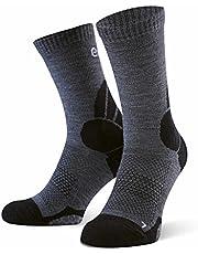Eono Essentials Merino Wool Hiking and Trekking Socks for Men and Women (2-Pack) - Black and Grey - Sizes UK 3-5