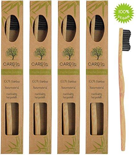 4er-Pack ✮ Ökologische Hand-Zahnbürste aus nachhaltigem Bambus-Holz mit weichen Natur-Borsten in der biologisch abbaubaren Verpackung ✮ Die beste vegane, weiche Bio-Zahnbürste im Set für gesunde Zahnpflege ✮ 100% BPA-frei ohne Plastik, 100% Bambus ✮ Nicht-Elektrische Hand-Zahnbürste mit Naturborsten aus Bambus-Holzkohle für gesunde Zähne für umweltfreundliche Frauen, Männer und Kinder