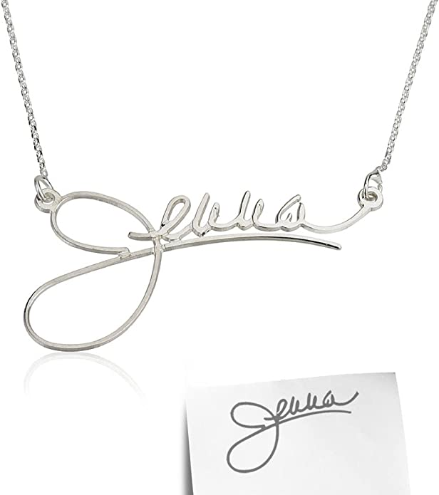 Name Necklace Sterling Silver Signature Name Necklace  Letter necklace Celebrity Handwriting Nameplate Sydney Name Necklace
