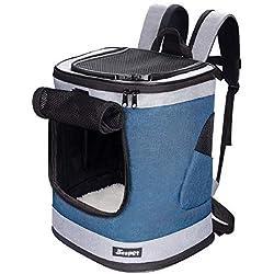 """Jespet - Mochila transportadora para perros pequeños, cachorros, mochila suave, ideal para viajes, senderismo, caminar y actividades al aire libre con la familia, Azul gris, 13""""Lx 12""""Wx 17""""H"""