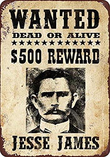 Anjoes Jesse James Original Wanted Poster Riproduzione Metal Sign 8 x 12