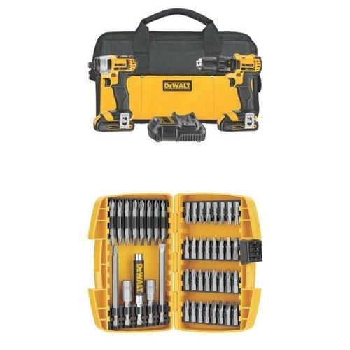 DEWALT DCK280C2 20-Volt Max Li-Ion 1.5 Ah Compact Drill and Impact Driver Combo Kit w/ DW2166 45-Piece Screwdriving Set