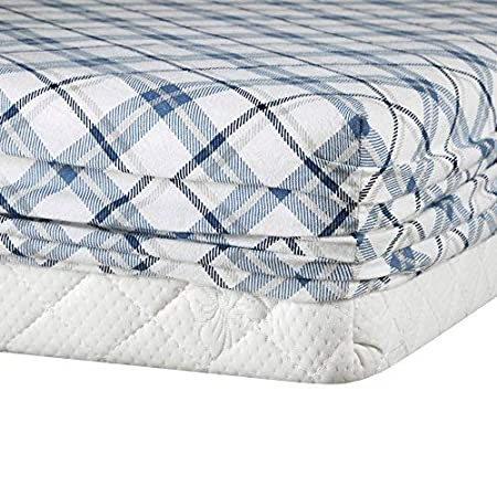 Cal King Comfort Spaces Cotton Flannel 6 Piece Set Breathable Warm Deep Pocket Printed Plaid Pattern Sheets with Pillow Cases Bedding Blue
