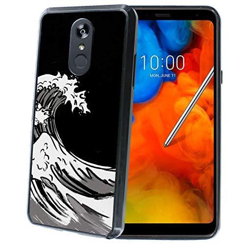 TalkingCase Phone Case for LG Stylo4,Stylo4 Plus,Black Premium Thin Edge Bumper Case,Duo-Layer Slim Gel,Handpaint Japanese Waves Print, Designed and Printed in USA