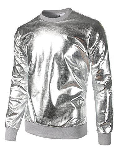 JOGAL Metallic Gold Shirts Nightclub Styles Hoodies Medium Silver