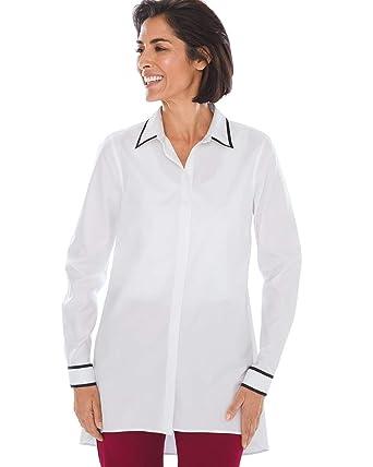 57ad4d139aa Chico s Women s No-Iron Cotton Contrast-Trim Tunic White at Amazon ...