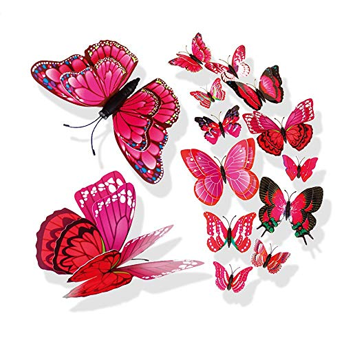 (AKIMPE 3D DIY Pin Type Home Decor Butterfly Curtain Dress Decorate Accessory 12 Piece Hot Pink)