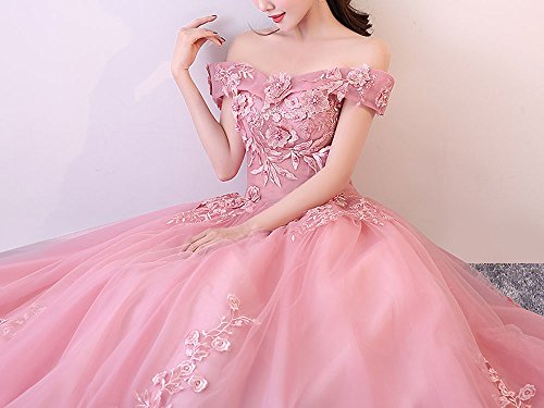 Sweet Dresses Shoulder Long Women's Blush Gowns Quinceanera Pink Prom Pink Ball Okaybrial Lace Size 16 Plus Off A5w1H