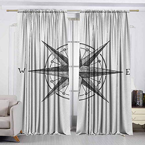 Complete Compass Room Decor - VIVIDX Rod Pocket Blackout Drapes,Compass,Seamanship Hand Drawn Windrose with Complete Directions North South West,Decor Thermal/Room Darkening Window Curtains,W55x39L Inches Charcoal Grey White