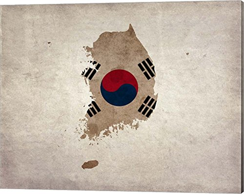 Map with Flag Overlay South Korea by Color Me Happy Canvas Art Wall Picture, Gallery Wrap, 20 x 16 inches
