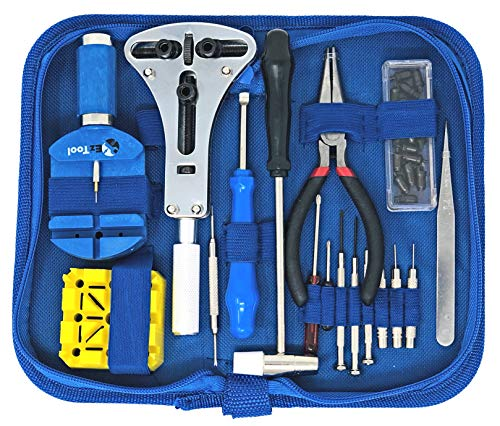EZTool Watch Repair Kit with 16 Tools and 41-Page Illustrated Maintenance & Service Manual ()